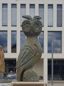 """WikiEule (WikiCon 2016 in Stuttgart, in der Kategorie """"FlügelEule"""" verliehen an das Teilprojekt für die Zusammenarbeit mit der Wikipedia Redaktion Altertum, die beispielhaft zeigt, wie man Wikipedia und Wissenschaft zusammenbringen kann)"""