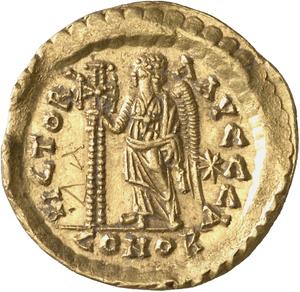 Graffito XV on the reverse of a gold coin (solidus), strucked for Aelia Verina, around 465 a. D., Münzkabinett der Staatlichen Museen zu   Berlin, In. 18200558, ill.: Lutz-Jürgen Lübke (Lübke und Wiedemann), https://ikmk.smb.museum/object?id=18200558