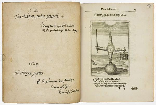 Stammbuch der Dorothea von Anhalt-Zerbst (geführt 1618 bis 1634) = Andreas Friedrich, Emblemata Nova, das ist/ New Bilderbuch [….], Frankfurt: Lucas Jennis 1617 (Herzog August Bibliothek Wolfenbüttel: Cod. Guelf. 231 Noviss. 8°), S. 68+4f.