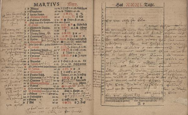 [Anonymer Besitzer], Gallus Emmen, Almanach und Schreibkalender auffs 1575. Jahr […], Bautzen: Michael Wolrab [1574] (Bayerische Staatsbibliothek München: Res. Chrlg. 323n), A4vf.