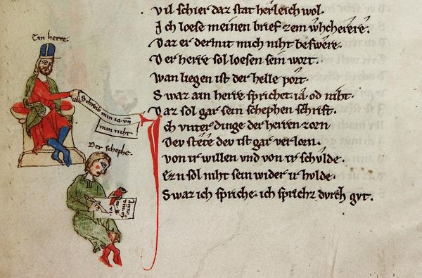 The lord and his (letter) writer, in: Heidelberg, University Library, Cod. Pal. germ. 389 (Sigle: A), fol. 33v
