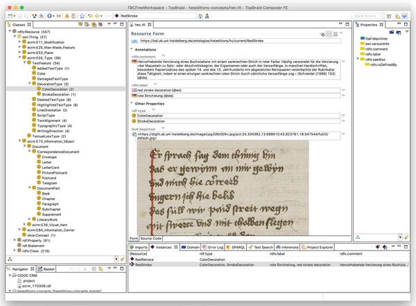 """Screenshot der Arbeit an einer OWL-Ontologie in der Software """"TopBraid Composer"""""""
