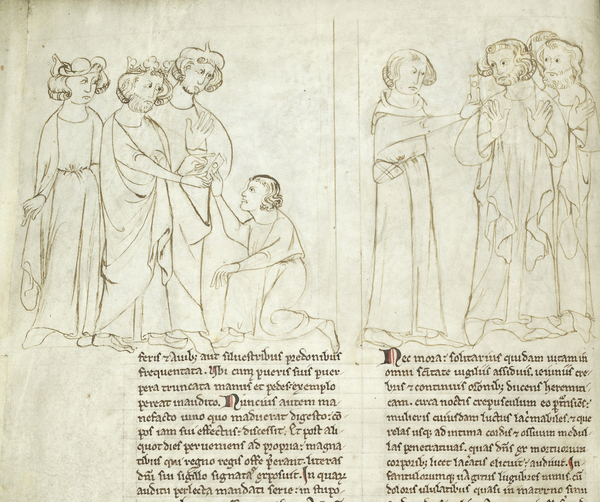Szenen des Tragens und Überbringens von Nachrichten (Mankine-Erzählung, Mai und Beaflor-Stoff), in: Matthew Paris, Liber Additamentorum, 1250-1259, British Library, Cotton MS Nero D I, f. 7v.