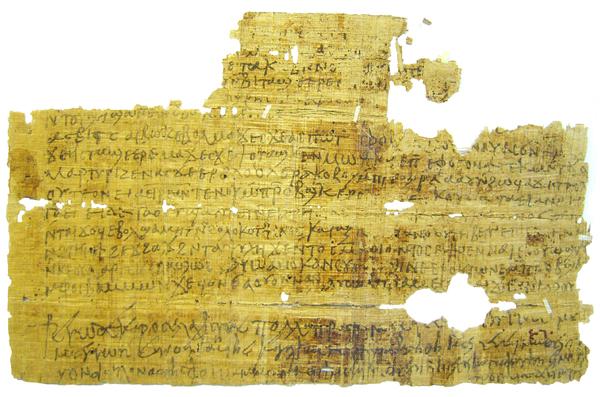 Die Abbildung zeigt einen aus Ägypten stammenden bilingualen Brief, der auf das 6. Jahrhundert datiert. Die oberen beiden Absätze sind in koptischer Sprache geschrieben, der untere Teil enthält eine Grußformel auf Griechisch. Foto: Loreleï Vanderheyden