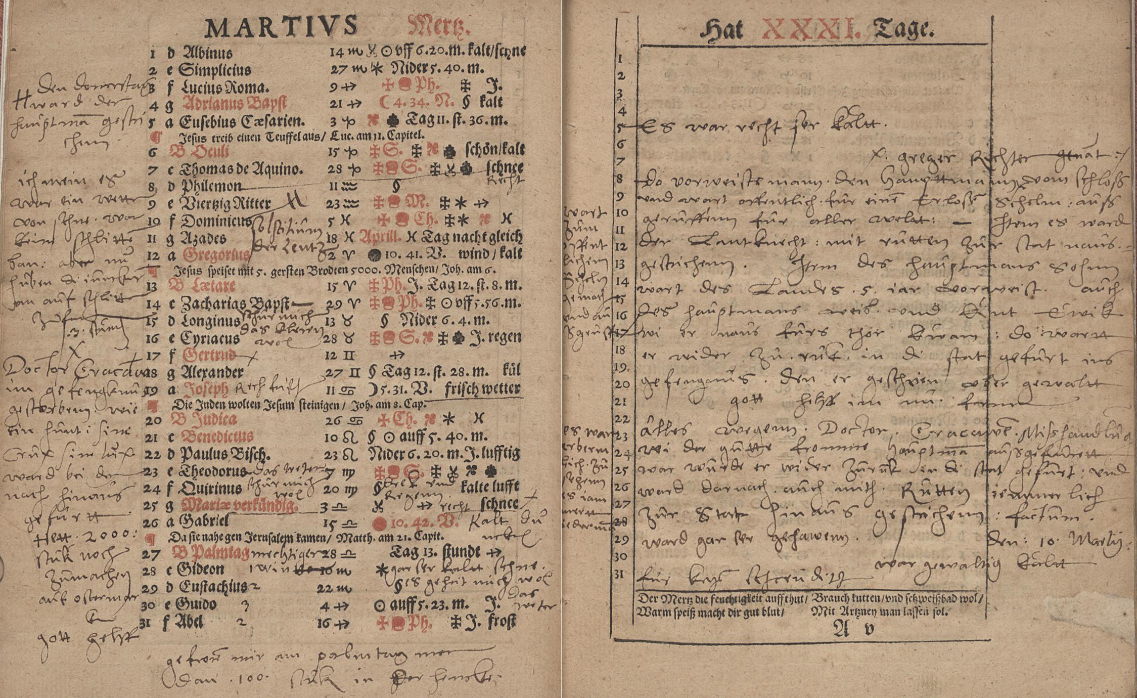 [anonymous owner], Gallus Emmen, Almanach und Schreibkalender auffs 1575. Jahr […], Bautzen: Michael Wolrab [1574] (Bayerische Staatsbibliothek München: Res. Chrlg. 323n), A4vf.